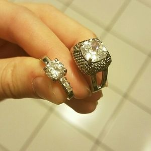 TWO Size 7 Clear Gem Diamond-Like Silver Rings